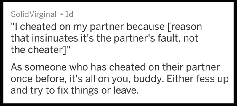 Cheaters who blame their partner for cheating