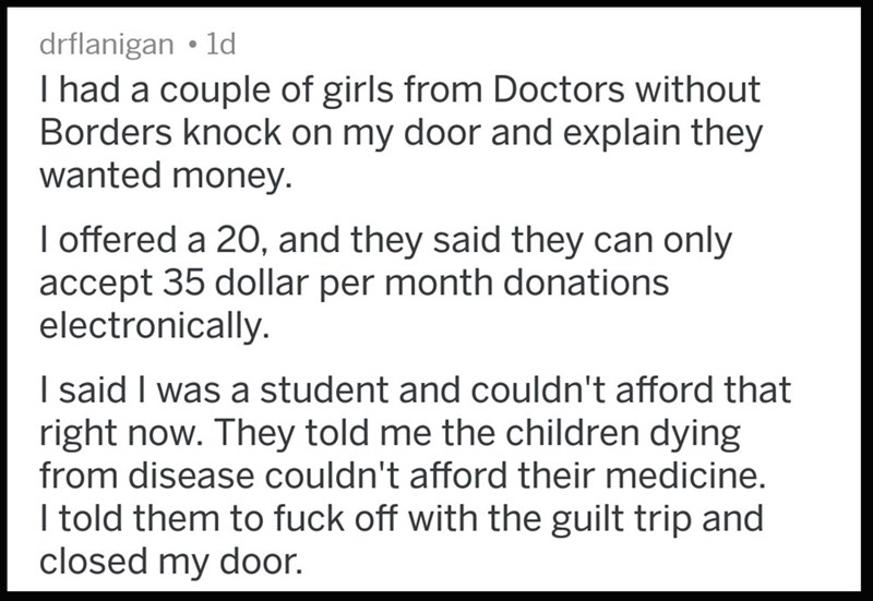 Doctors Without Borders guilt-trip a poor student for not giving them enough money