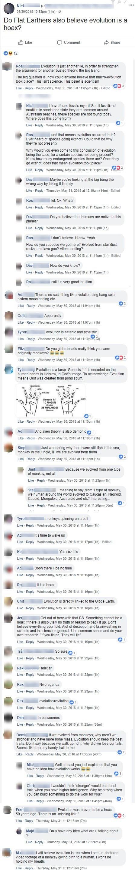 flat earth evolution facebook thread