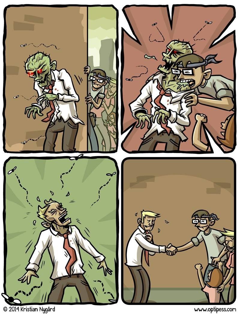 Cuando es un hombre normal quien muerde a un zombie