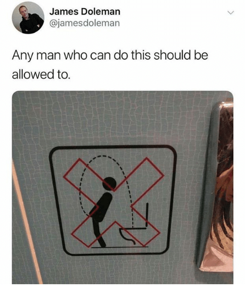 Sign depicting a man standing backwards in front of a toilet