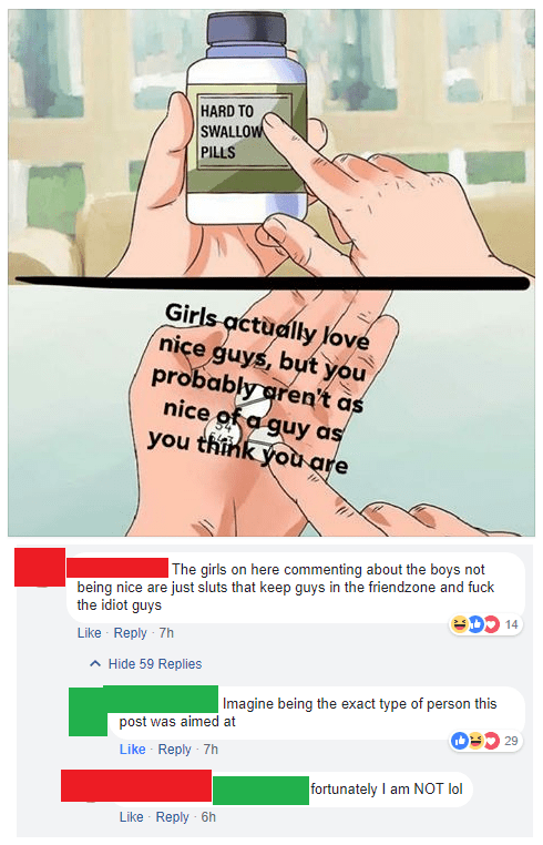 Text - HARD TO SWALLOW PILLS Girls actually love nice guys, but you probably aren't as nice of a guy as you think you are The girls on here commenting about the boys not being nice are just sluts that keep guys in the friendzone and fuck DO the idiot guys 14 Like Reply 7h Hide 59 Replies |Imagine being the exact type of person this post was aimed at 29 Like Reply 7h fortunately I am NOT lol Like Reply 6h