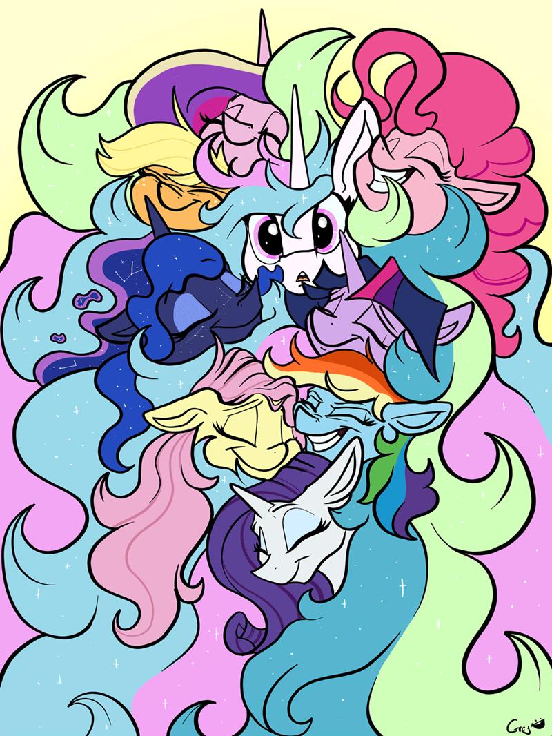 applejack princess cadence twilight sparkle pinkie pie princess luna rarity princess celestia fluttershy rainbow dash greyscale - 9171847168