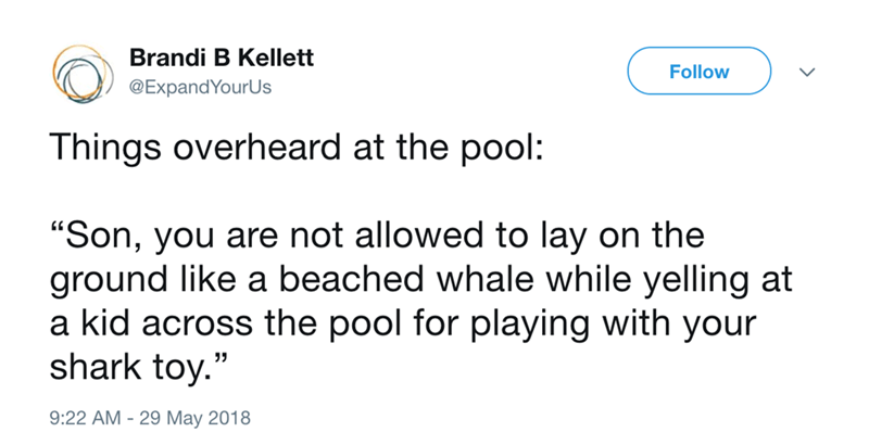"""Text - Brandi B Kellett Follow @ExpandYourUs Things overheard at the pool """"Son, you are not allowed to lay on the ground like a beached whale while yelling at a kid across the pool for playing with your shark toy."""" 9:22 AM 29 May 2018"""