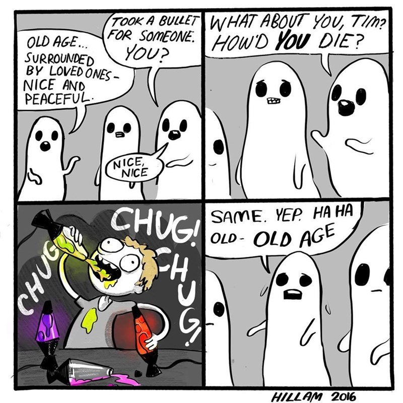 Funny vweb comic about a ghost drinking lava lamps to die.