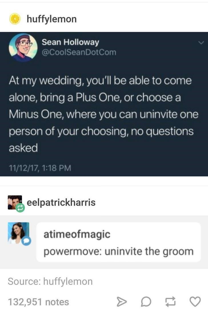Text - huffylemon Sean Holloway @CoolSeanDotCom At my wedding, you'll be able to come alone,bring a Plus One, or choose a Minus One, where you can uninvite one person of your choosing, no questions asked 11/12/17, 1:18 PM eelpatrickharris atimeofmagic powermove: uninvite the groom Source: huffylemon 132,951 notes