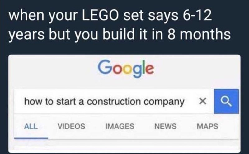 Funny meme about lego.