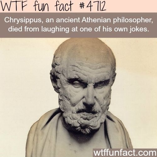 Forehead - WTF fun fact #412 Chrysippus, an ancient Athenian philosopher, died from laughing at one of his own jokes. wtffunfact.com