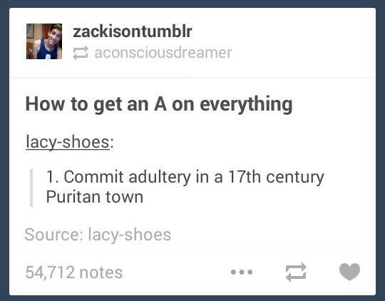 Text - zackisontumblr aconsciousdreamer How to get an A on everything lacy-shoes: 1. Commit adultery in a 17th century Puritan town Source: lacy-shoes 54,712 notes
