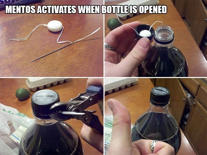 Hand - MENTOS ACTIVATES WHEN BOTTLE ISOPENED
