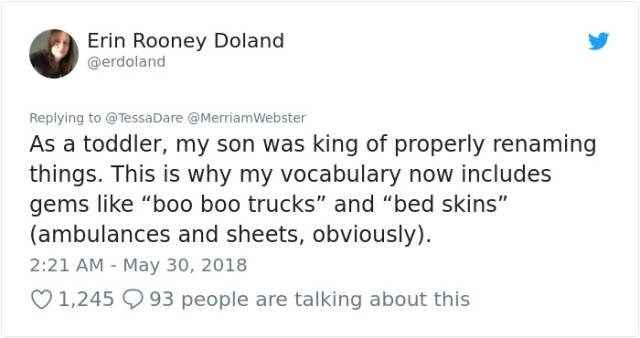 """Text - Erin Rooney Doland @erdoland Replying to @TessaDare @MerriamWebster As a toddler, my son was king of properly renaming things. This is why my vocabulary now includes gems like """"boo boo trucks"""" and """"bed skins"""" (ambulances and sheets, obviously) 2:21 AM May 30, 2018 1,245 93 people are talking about this"""