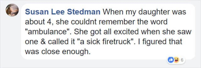 """Text - Susan Lee Stedman When my daughter was about 4, she couldnt remember the word """"ambulance"""". She got all excited when she saw one & called it """"a sick firetruck"""". I figured that was close enough"""
