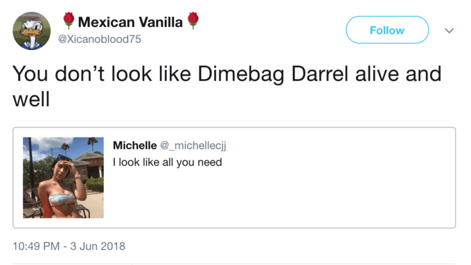 i look like all you need meme - Text - Mexican Vanilla Follow @Xicanoblood75 You don't look like Dimebag Darrel alive an well Michelle @_michellecjj I look like all you need 10:49 PM-3 Jun 2018