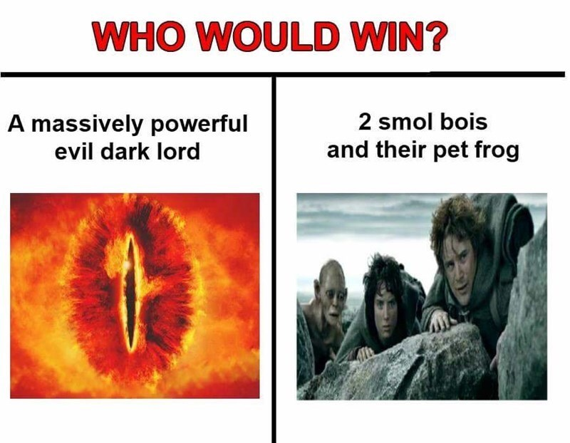 Text - WHO WOULD WIN? 2 smol bois A massively powerful evil dark lord and their pet frog