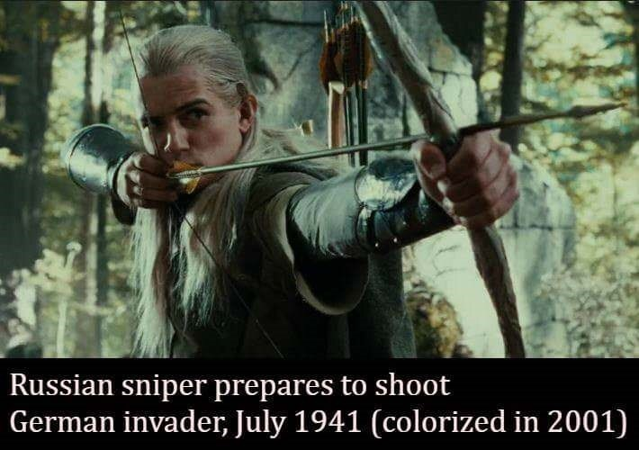 Bow and arrow - Russian sniper prepares to shoot German invader, July 1941 (colorized in 2001)