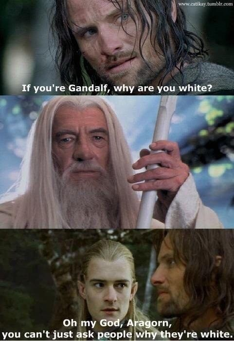 Movie - www.catikay.tumblr.com If you're Gandalf, why are you white? Oh my God, Aragorn, you can't just ask people why they're white.