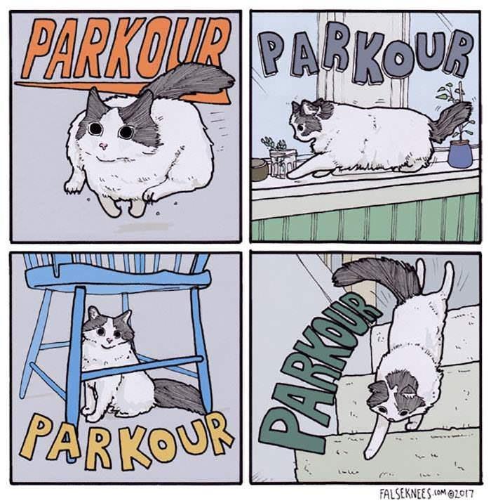 Cartoon - PARKOIUR PARKOUR COUR PARKOUR FALSEKNEES(OM017 PARKU
