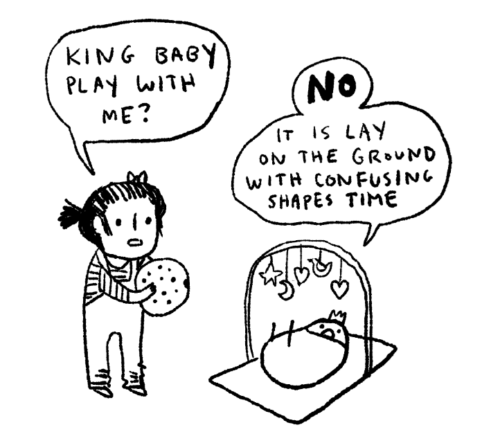 Cartoon - KING BAGY PLAY WITH ME? No T iS LAY oN THE GR»UND WITH CONFUSING SHAPES TIME