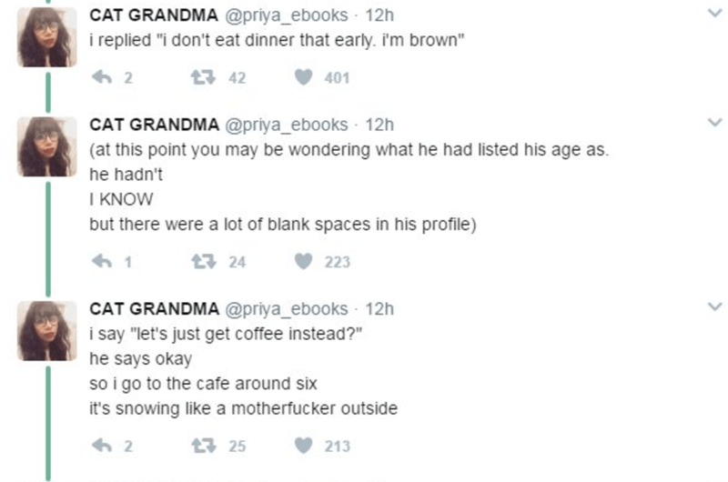 racist jokes fly over the 97 year olds head and they are to meet for coffee around six pm