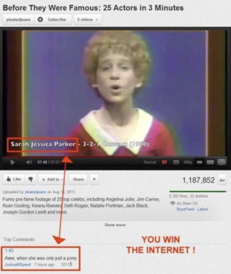 Photograph - Before They Were Famous: 25 Actors in 3 Minutes 5 videos pleatedjeans Subscribe Sarah Jessica Parker- 3-2-1 Contet (I980) 48/03 01 Add toShare 1,187,852 Uploaded by pleatedeans on Aug 2011 Funny pre-fame footage of 25top celebs, including Angeina Jokie, Jim Carrey Ryan Gosing, Keanu Reeves Seth Rogan, Natale Portman, Jack Black, Joseph Gordon Levit and mere 2.302 32 dise As Seen On BuzzFeed-Lates Show more YOU WIN Top Comments THE INTERNET! 1:45 Aww.when she was only just a pony 121