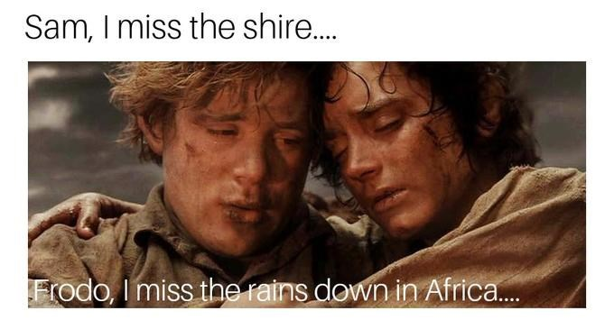 sam and frodo from lord of the rings looking dirty and tired africa toto meme