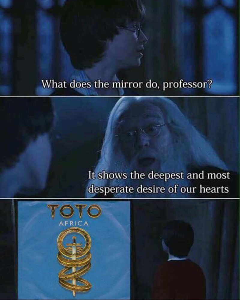 harry potter and dumbledore and the mirror of desire showing africa by toto