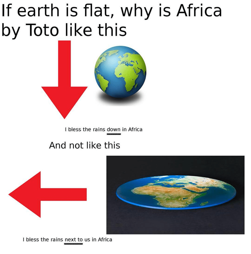 images of earth round and flat next to arrows africa toto meme