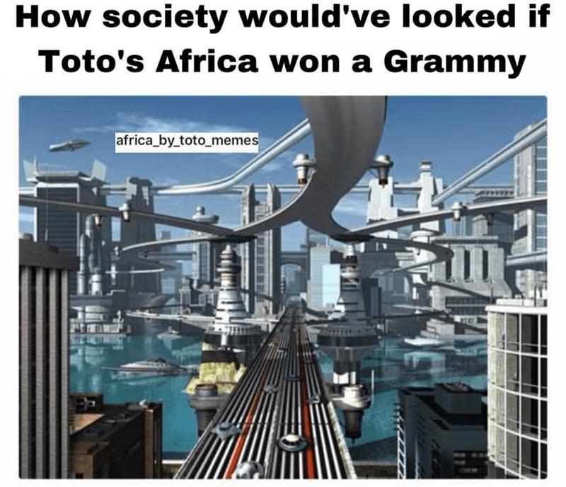 computer generated scene of futuristic city africa toto meme