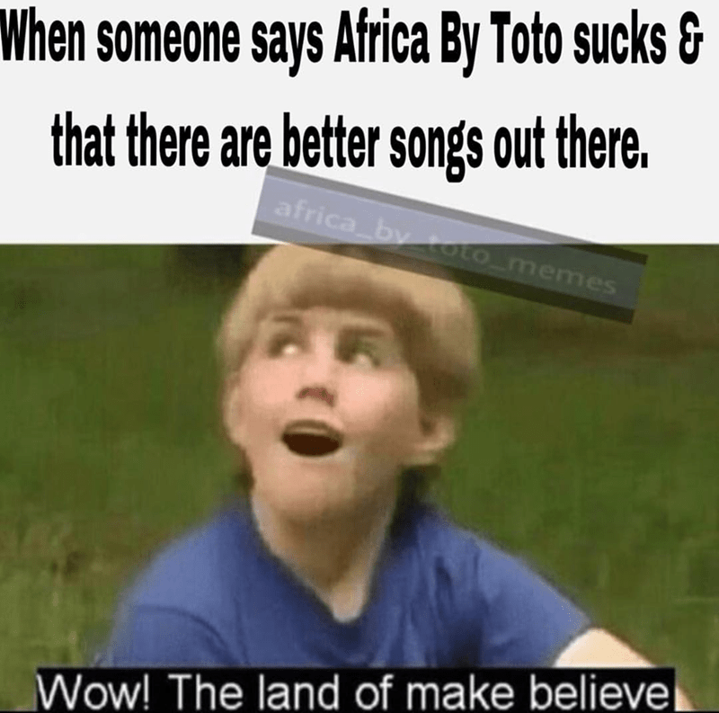 little boy in blue shirt looking whimsical africa toto meme