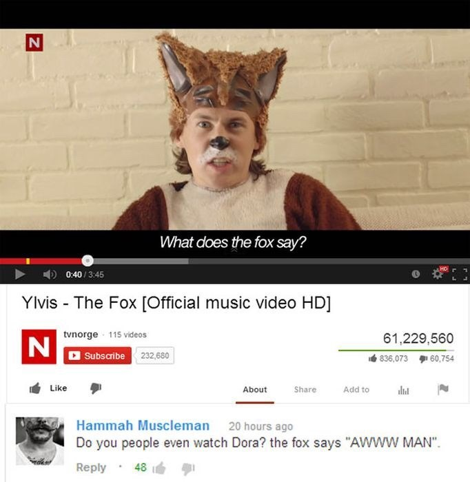 "Text - What does the fox say? 0:40/3:45 Ylvis The Fox [Official music video HD] tvnorge 115 videos 61,229,560 N Subscribe 232,680 836,073 60,754 Like About Share Add to Hammah Muscleman 20 hours ago Do you people even watch Dora? the fox says ""AWWW MAN"" Reply 48 IN"