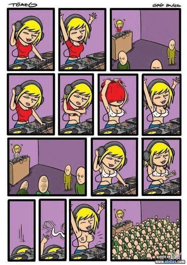 dj mujer prende una fiesta quitandose la ropa