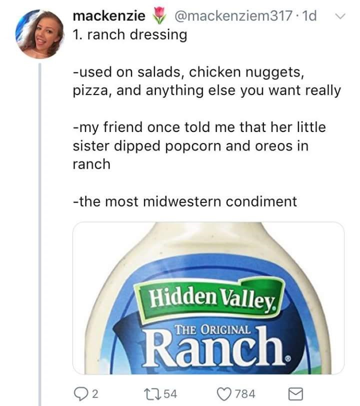Tweet about how Midwesterners put Ranch dressing on everything