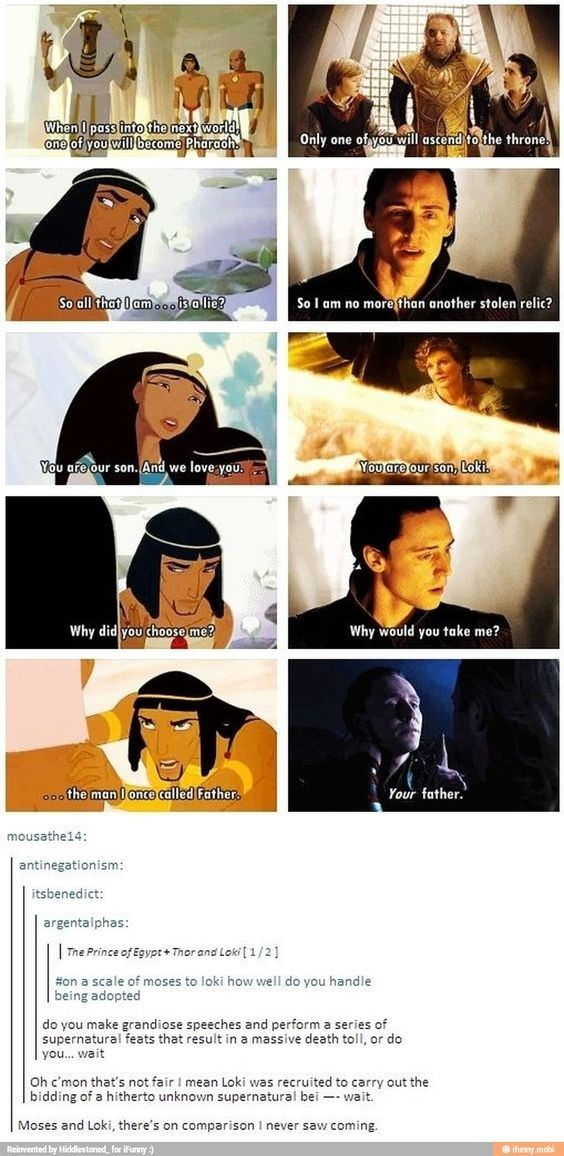 prince of egypt and marvel characters similarities and story arcs