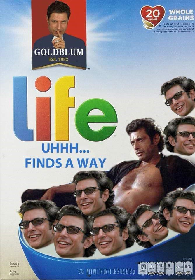 Movie - 20 WHOLE GRAINS GRAMS Diets rick is whole graia foods d ether plent oeds od low n total fat, sacurated ist and cbslesterst may belp reduce the ritk of heart diseese GOLDBLUM Est. 1952 TM life UHHH... FINDS A WAY per cap Enimged to showr Ota 1200160 6, LUMIRON NET WT 18 0Z(1 LB 202) 513 g SATTO CALORIES Srving Soppetion
