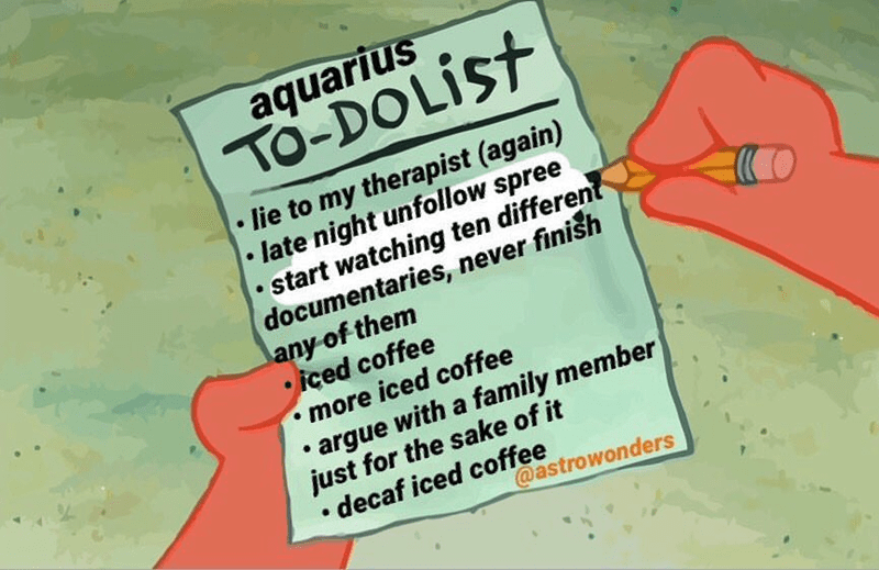 Text - aquarius TO-DOLIST lie to my therapist (again) late night unfollow spree . start watching ten different documentaries, never finish any of them iced coffee more iced coffee argue with a family member just for the sake of it .decaf iced coffee @astrowonders