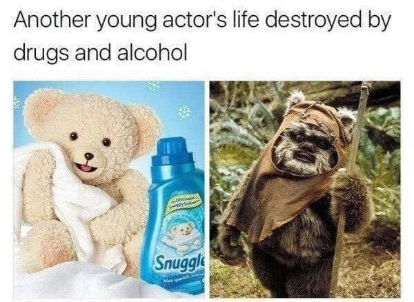 Funny meme about ewoks and snuggles, alcohol.