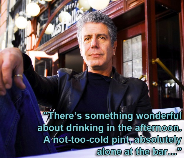 Photo caption - UThere's something wonderful about drinking in the afternoon. A not-too-cold pint absolutely alone at the bar. 000