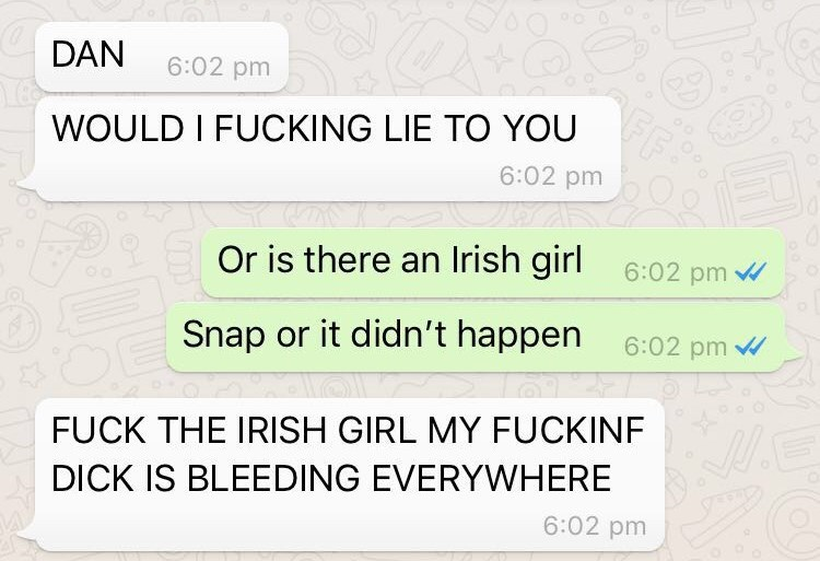 Text - DAN 6:02 pm WOULD I FUCKING LIE TO YOU 6:02 pm Or is there an Irish girl 6:02 pm 6:02 pm Snap or it didn't happen FUCK THE IRISH GIRL MY FUCKINF DICK IS BLEEDING EVERYWHERE 6:02 pm