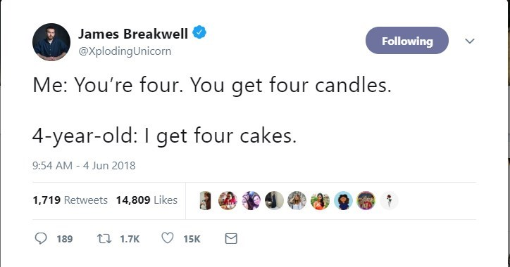 Text - James Breakwell Following @XplodingUnicorn Me: You're four. You get four candles. 4-year-old: I get four cakes. 9:54 AM 4 Jun 2018 1,719 Retweets 14,809 Likes t1.7K 189 15K