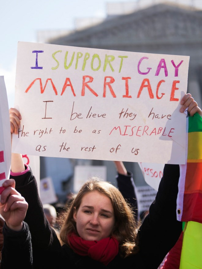 Protest - I SUPPORT GAY MARRIAGE I be heve they hare MISERABLE as Fhe right to be of us as the rest so