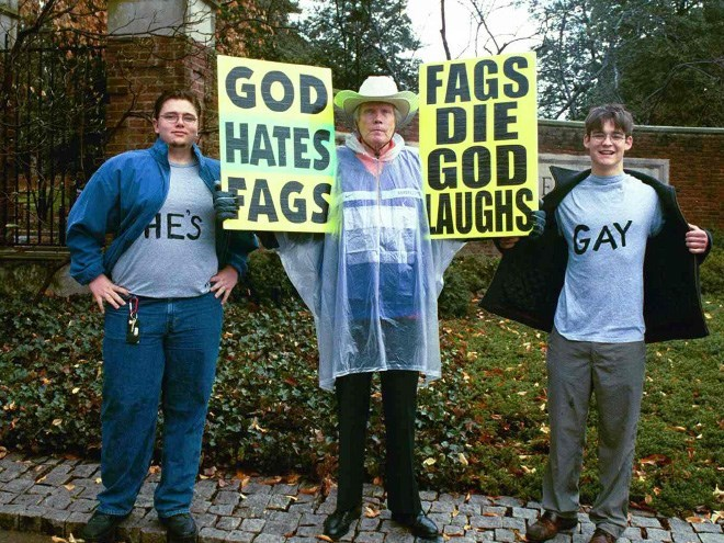 Community - FAGS DIE GOD LAUGHS GAY GOD HATES FAGS HES