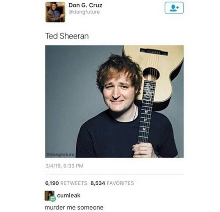 Picture of Ted Cruz's face photoshopped over Ed Sheeran's
