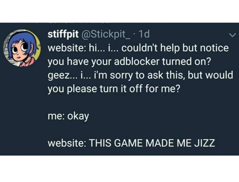 tweet about sites appearing innocent but once you remove adblocker they turn explicit
