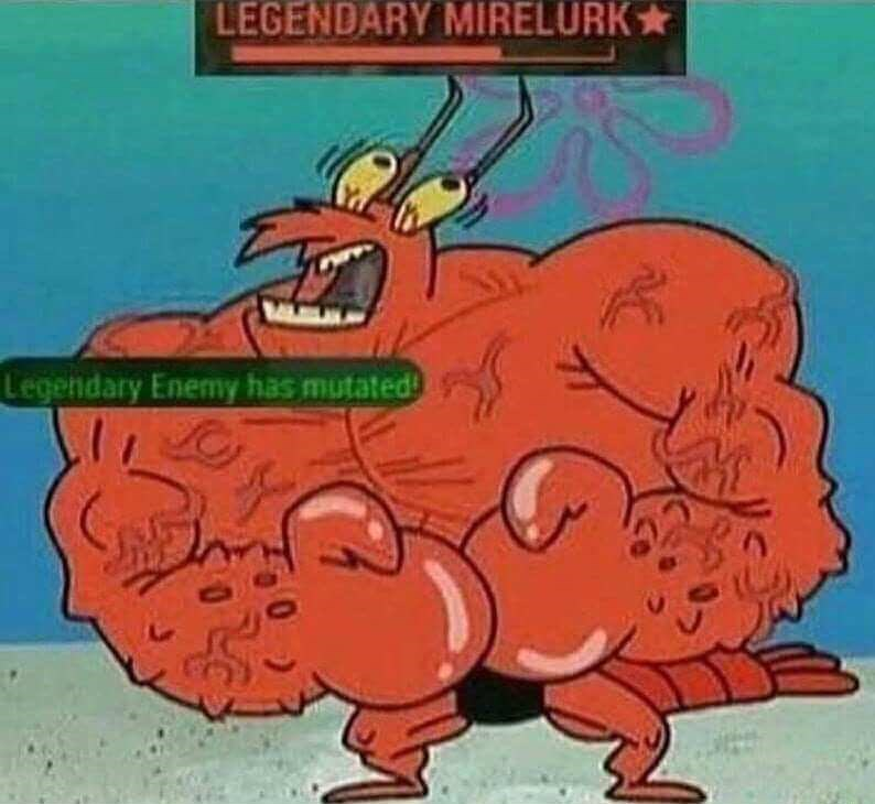 meme about Fallout battles with picture of Larry the lobster from Spongebob as the enemy