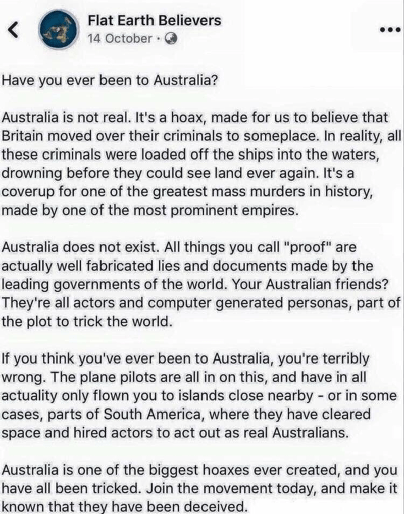 Crazy person on the internet who thinks that Australia is not real