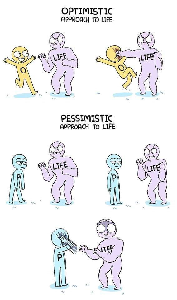 funny comic - Line art - OPTIMISTIC APPROACH TO LIFE LIFE LIFE PESSIMISTIC APPROACH TO LIFE LIFE LIFE
