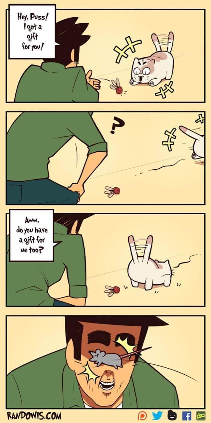 funny comic - Cartoon - Hey, Puss! gota gift for you! Aww. do you have agift for Me too? RAMDOWIS.COM
