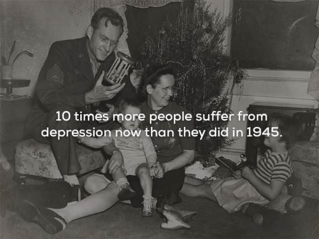 Snapshot - 10 times more people suffer from depression now than they did in 1945.