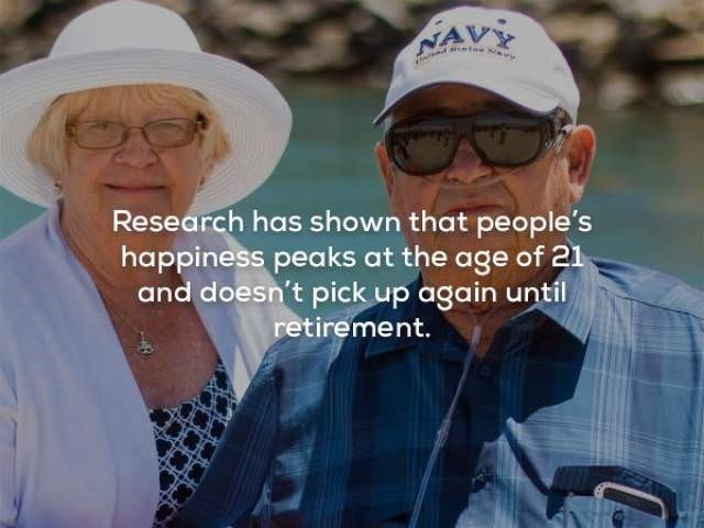 Headgear - NAVY Research has shown that people's happiness peaks at the age of 21 and doesn't pick up again until retirement.