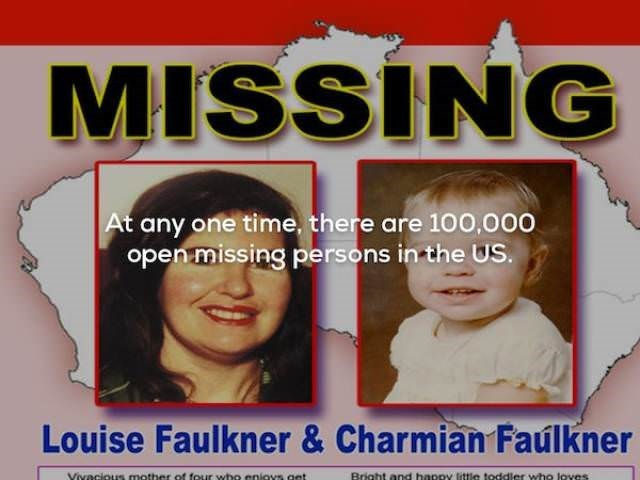 Chin - MISSING At any one time, there are 100,000 open missing persons in the US. Louise Faulkner & Charmian Faúlkner Bright and happy little toddler who loves Vivacious mother of four wbo eniovs get